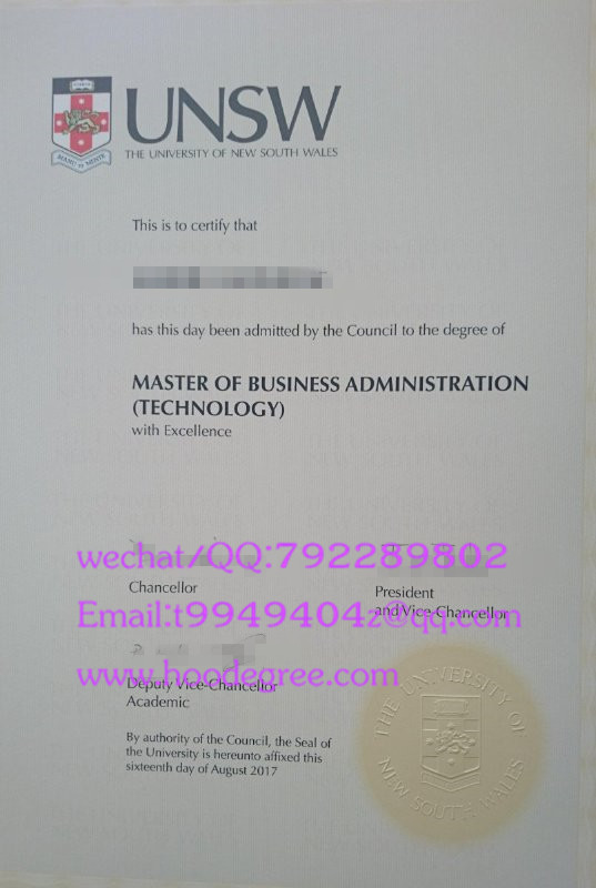 澳大利亚新南威尔士大学毕业证The University of New South Wales degree certificate