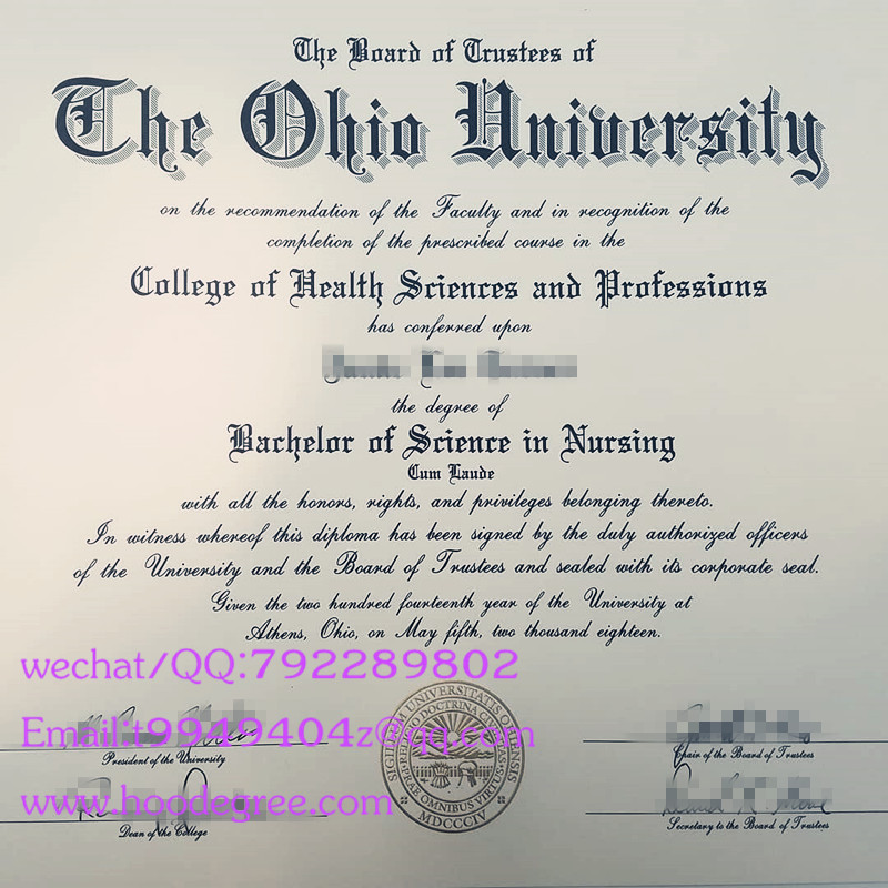 美国俄亥俄大学毕业证the ohio university degree certificate